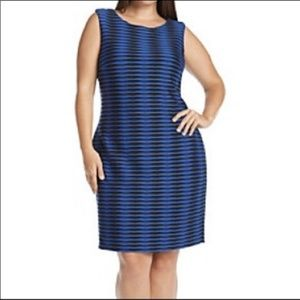 Calvin Klein sheath blue&black sleeveless dress